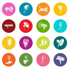 Photography icons set colorful circles vector