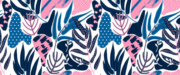 Seamless pattern, hand drawn abstract plant, leaf and flowers, pink and blue tones on white background