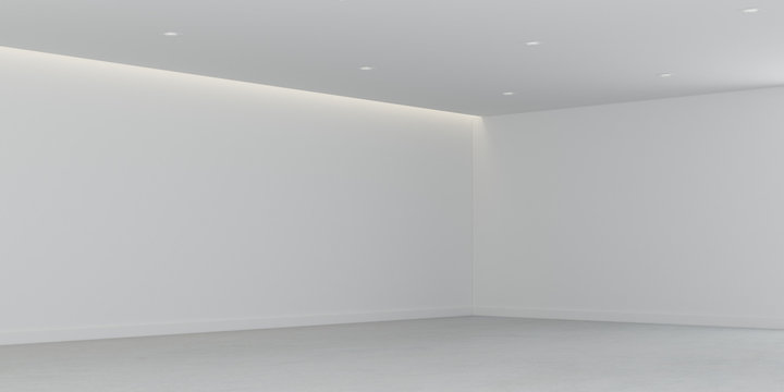 3D rendering of the empty room space and white wall with interior lighting,Perspective of minimal design architecture.