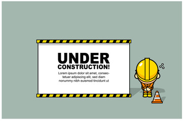 Vector under construction page illustration with cute worker character