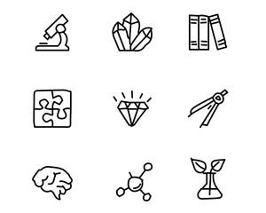 science icon set design illustration, hand drawn style design, designed web and app