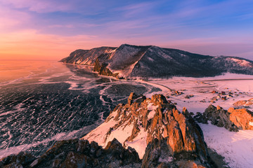 Beautiful sunrise over Baikal Olkhon Russia water lake aerial view, natural landscape background