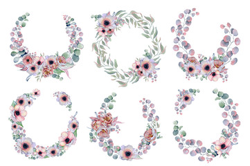 watercolor wreaths frames set with anemone, peonies flowers and herbs