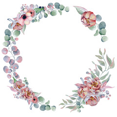 watercolor wreath frame with anemone, peonies flowers and herbs