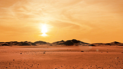 landscape on planet Mars at sunrise, desert with mountain range on the red planet