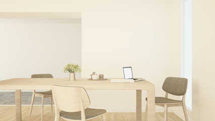 Meeting room or office on warm color - Workplace simple design in home office or apartment - 3D Rendering