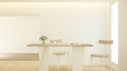 Meeting room or office on earth tone color - Workplace simple design in home office or apartment - 3D Rendering