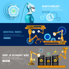 Artificial intelligence, microchips, people and computers. Robots in the industry. Creation and programming robots, nanotechnology
