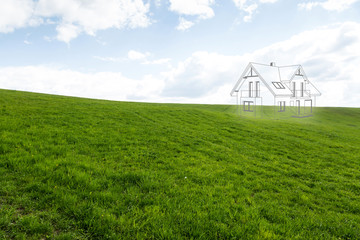House project on the meadow. Concept of dreams about a new home. Contours of the house in 3d on a meadow. Fototapete
