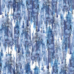 Seamless watercolor pattern, background. Blue spruce, pine, cedar, larch, abstract forest, silhouette of trees. Foggy forest