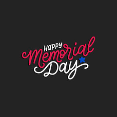 Happy Memorial Day handwritten phrase in vector. National american holiday illustration with color stars.
