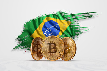 Crypto currency, gold coin BITCOIN BTC. Coin bitcoin against the background of the flag of Brazil. The concept a new currency, Blockchain Technology , a token. Mixed media