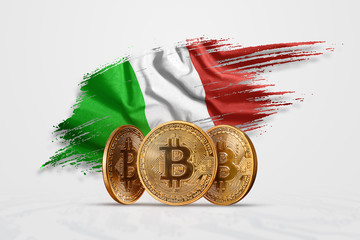 Crypto currency, gold coin BITCOIN BTC. Coin bitcoin against the background of the flag of Italy. The concept a new currency, Blockchain Technology , a token. Mixed media