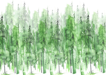 Watercolor group of trees - fir, pine, cedar, fir-tree. green forest, countryside landscape. Drawing on white isolated background. Foggy green forest