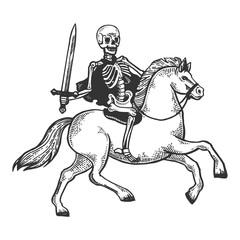 Skeleton warrior on horse engraving vector