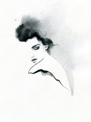 Deurstickers Aquarel Gezicht beautiful woman. fashion illustration. melancholy. watercolor illustration
