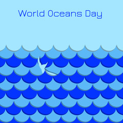 World Oceans Day. Symbolic waves, whale tail