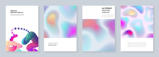 Minimal brochure templates with colorful dynamic fluid shapes in minimalistic style. Templates for flyer, leaflet, brochure, report, presentation, advertising. Minimal concept, vector illustration
