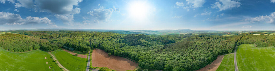 Der Odenwald bei Göllheim in der Pfalz 360° Panorama Luftaufnahme