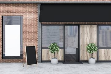 Brick restaurant exterior wooden doors, banner