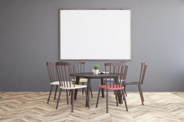 Gray dining room interior, poster