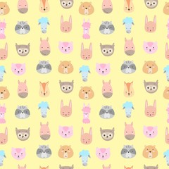 Cute animals. Pattern of hand drawn smiling characters. Cartoon zoo. Cat, lama, horse, raccoon, sheep, owl, rabbit, squirrel and bear. Vector illustration.