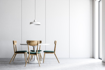 Interior of a modern white dining room