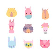 Cute animals. Set of hand drawn smiling characters. Cartoon zoo. Cat, lama, horse, raccoon, sheep, owl, rabbit, squirrel and bear. Vector illustration.
