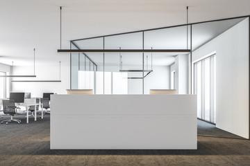 Modern office lobby, white reception