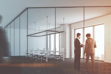 Glass metal office meeting room, business people