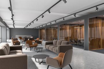 Luxury office corridor, dark wood meeting room