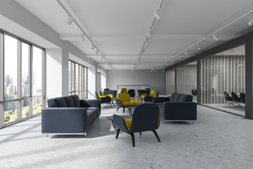 Office waiting room, yellow armchairs