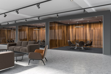 Luxury office lobby, dark wood meeting room