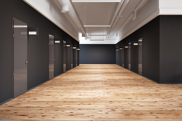 Office or college corridor with rows of doors