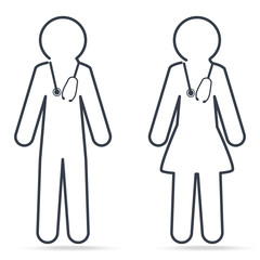 Doctor and Nurse icon. Medical concept simple line icon illustration