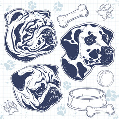 set decorative breed dog painted, silhouette dog head, bulldog, pug, Dalmatian