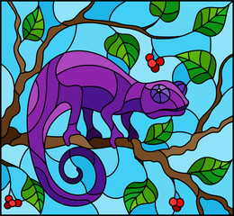 Illustration in stained glass style with bright purple chameleon on plant branches background with leaves and berries on blue background