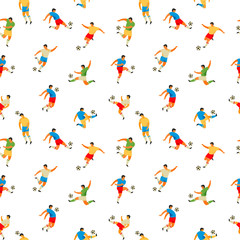 Soccer players. Vector seamless pattern.