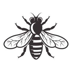 Honey bee vector monochrome style illustration