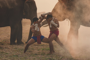 Martial arts of Muay Thai,Action Muay Thai tradition fighters of Thailand.