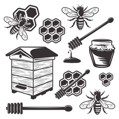 Beekeeping and honey set of vector black objects