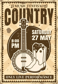 Country music festival vintage poster illustration