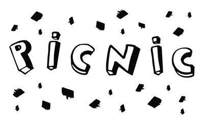 Vector hand drawn picnic lettering with ink spots isolated on white background