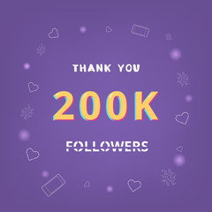 200K followers thank you banner. Vector illustration.