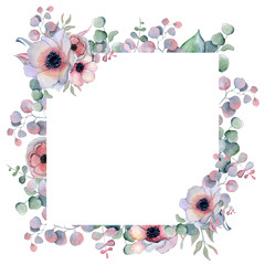 Watercolor floral frame Hand drawn arrangemen with peonies and anemone flowers