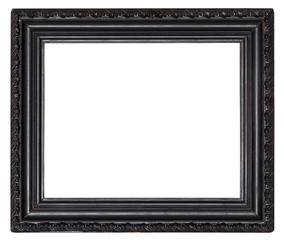 Black wooden frame with carved pattern isolated on a white background