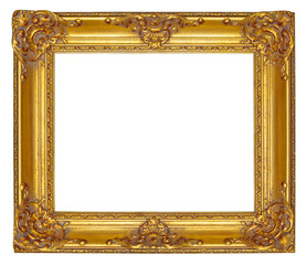 Gold wooden picture frame with carved floral ornament isolated on a white background