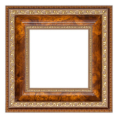Brown picture frame with gilded floral pattern isolated on a white background