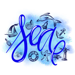 Hand drawn lettering word - Sea. Summer vacations poster with text, water splashes and fishes on watercolor imitation background. Can use for print greeting cards, totes, posters and tshirts