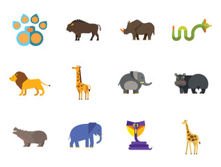 African Animals Icon Set. Paw Trace Zebra Lion Rhinoceros Cobra Hippopotamus Big Elephant Ox Giraffe Fat Elephant Crying Hippo Angry Cobra Young Giraffe